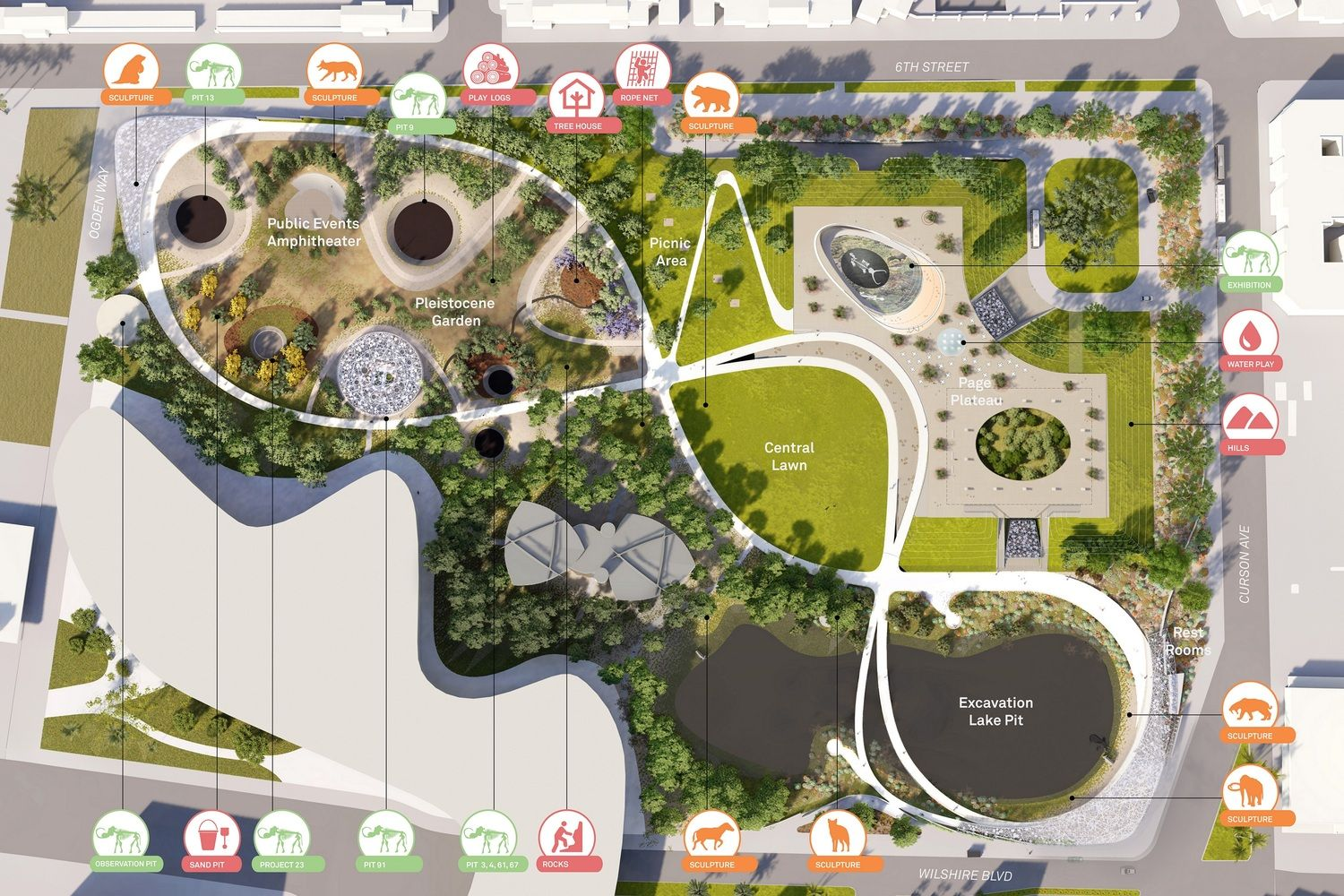Gallery Of Three Concepts Unveiled For La Brea Tar Pits Masterplan In Los Angeles 16 Landscape Architecture Plan Urban Landscape Design City Parks Design