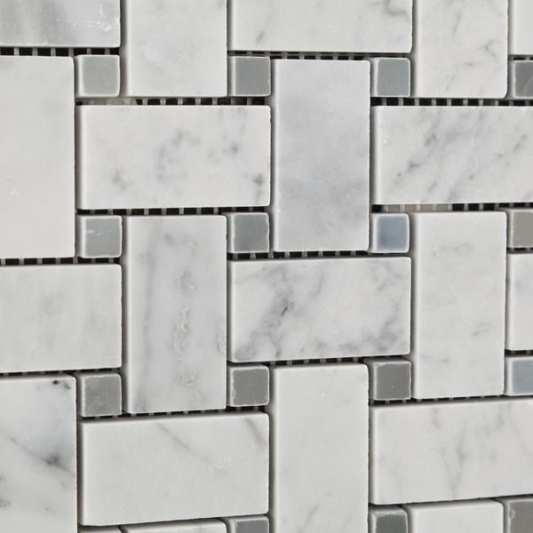 Carrara White Marble Honed Basketweave Mosaic Tile W Blue Gray Dots Marble Bathroom Mosaic Tiles Bathroom Floor Tiles
