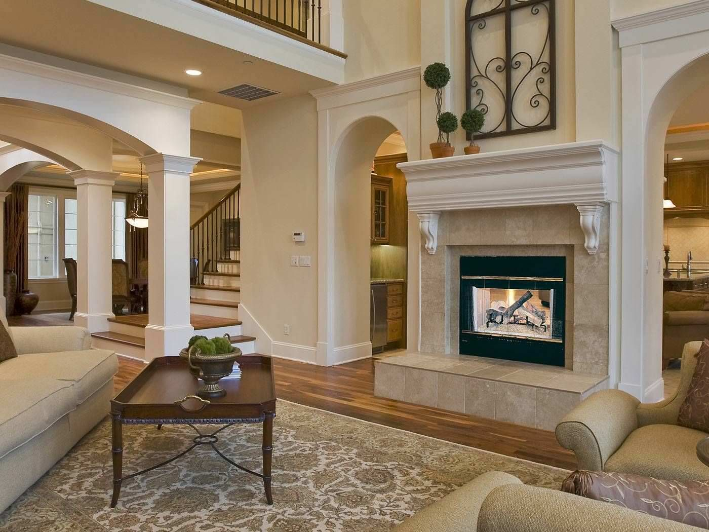 Wood Fireplace  Doublesided  Closed Hearth  Traditional Hst Amusing Design Ideas For Living Room With Fireplace Inspiration