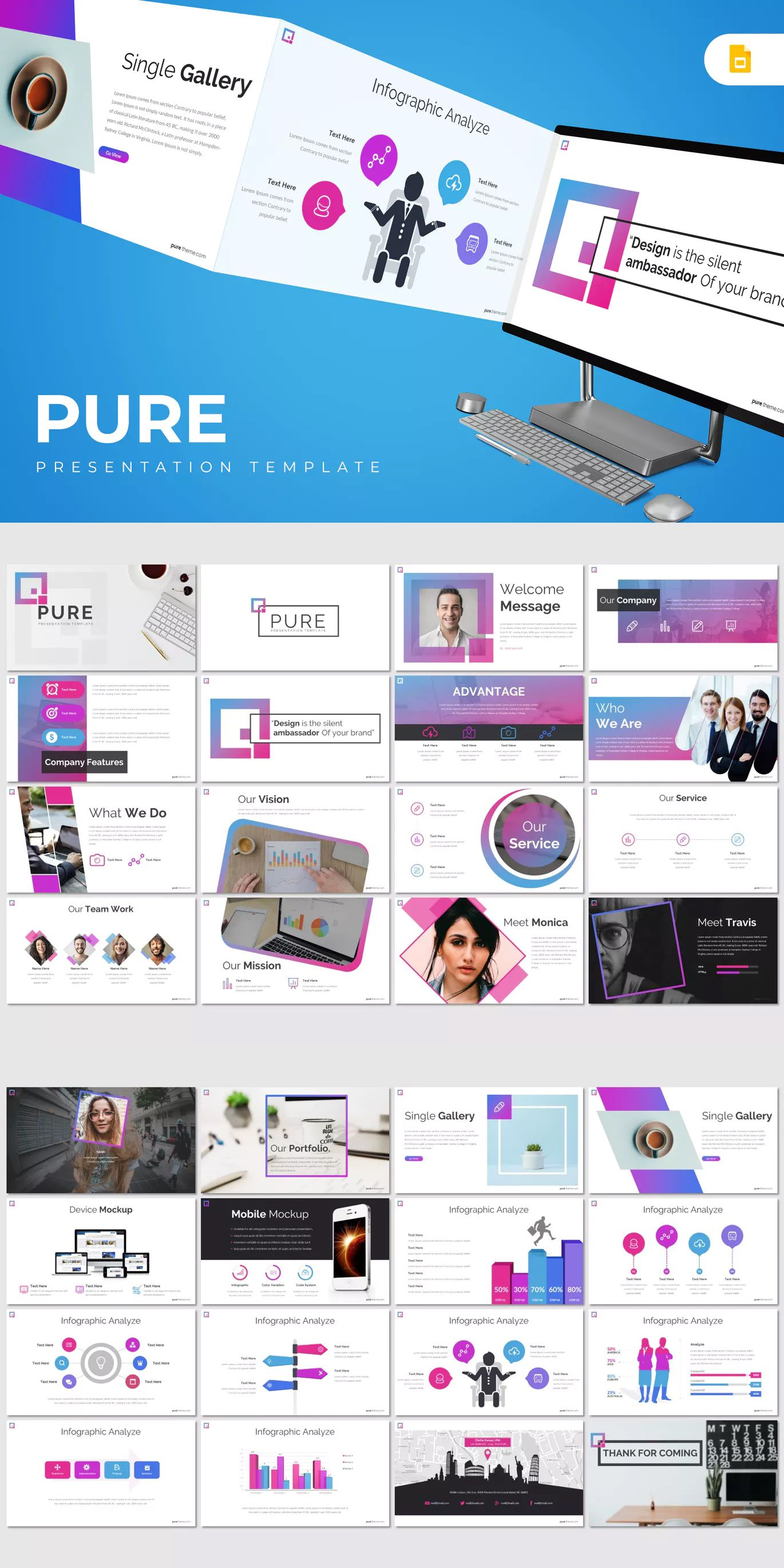 pure google slides presentation template 30 modern creative