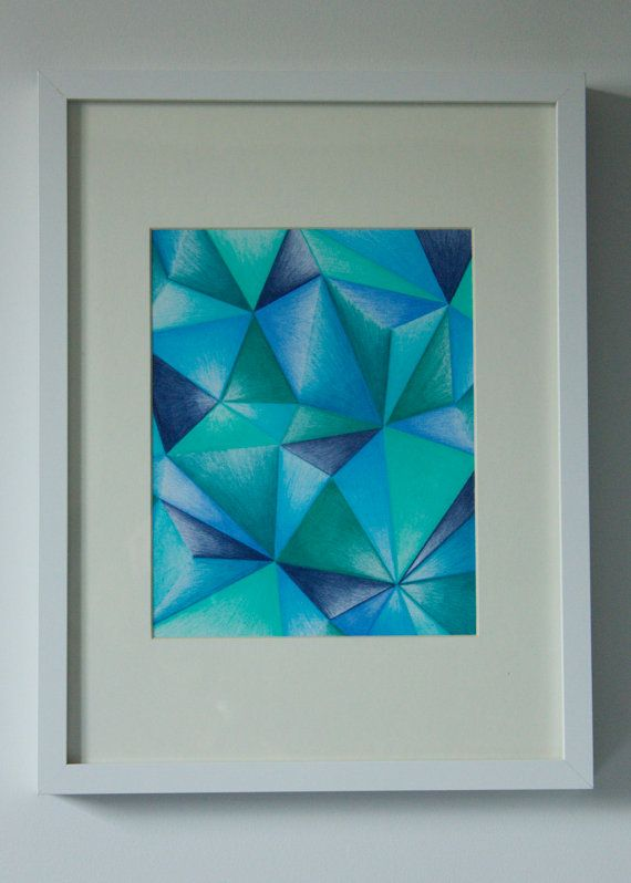 25 00 Geometric Drawing Blue Green Triangle Abstract Pencil
