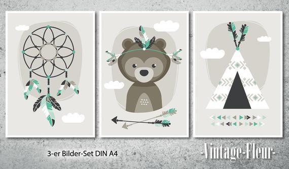 3set Poster Bear Pictures nursery mint A4/A3 Bilder