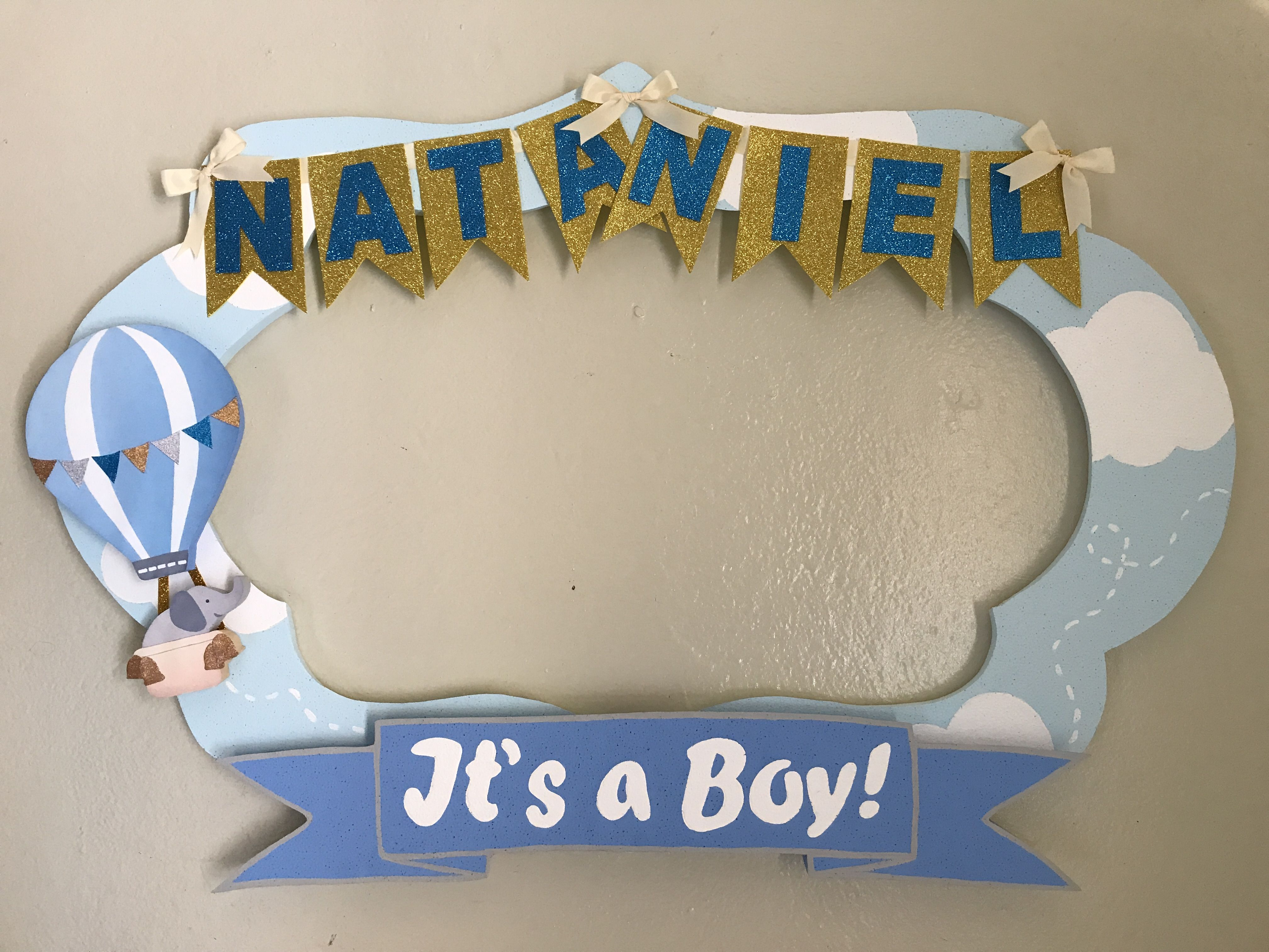 Hot Air Balloon And Elephant Photobooth Frame Baby Shower