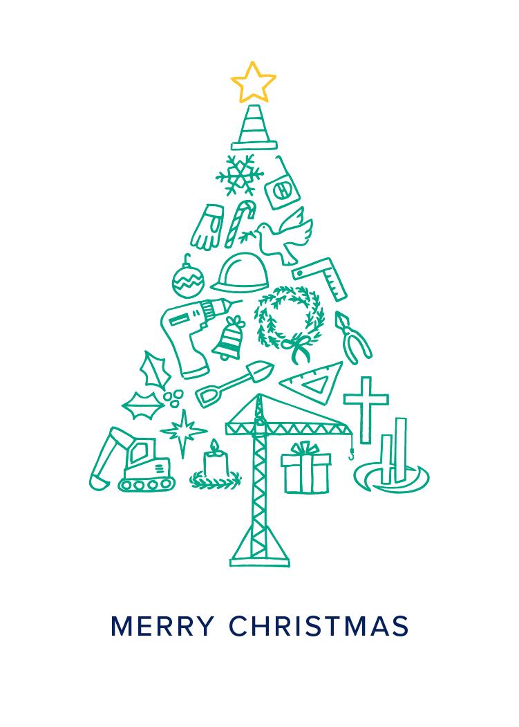 Contruction Christmas Card Design Company Holiday Cards Christmas Card Design Identity Card Design