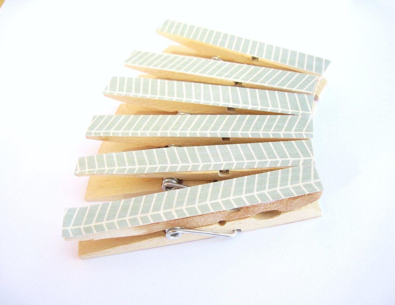Mint Chevron Clothespin Magnets, Chevron Clothespin Magnets. $6.00, via Etsy.