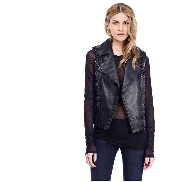 Sarya Gilet Black - Leather Vest (17.770 NOK) ❤ liked on Polyvore featuring outerwear, vests, black motorcycle vest, black studded vest, genuine leather vest, studded leather vest and leather vest
