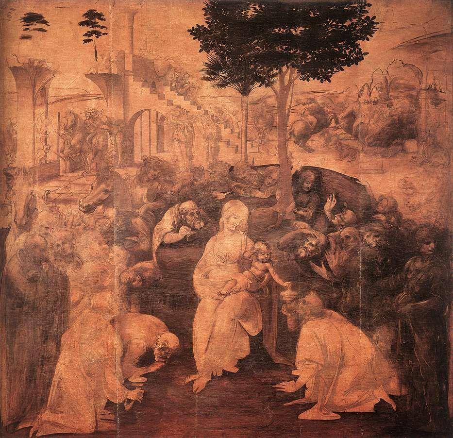 Léonard de Vinci, L'Adoration des Mages, 1481-82. Détrempe, huile et blanc de plomb sur bois, 246 x 243 cm. Galerie des Offices, Florence.