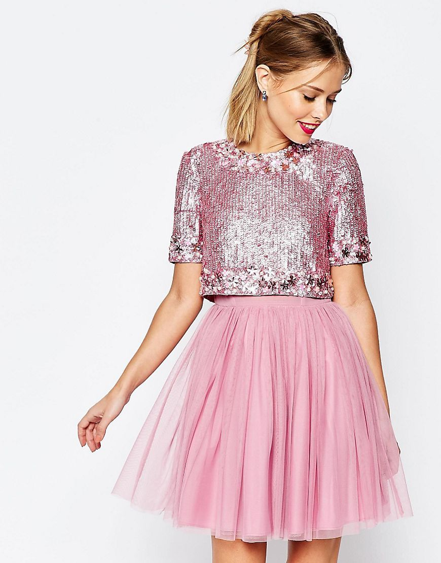 ASOS SALON Crystal Crop Top Tutu Netted Mini Skater Dress | The ...