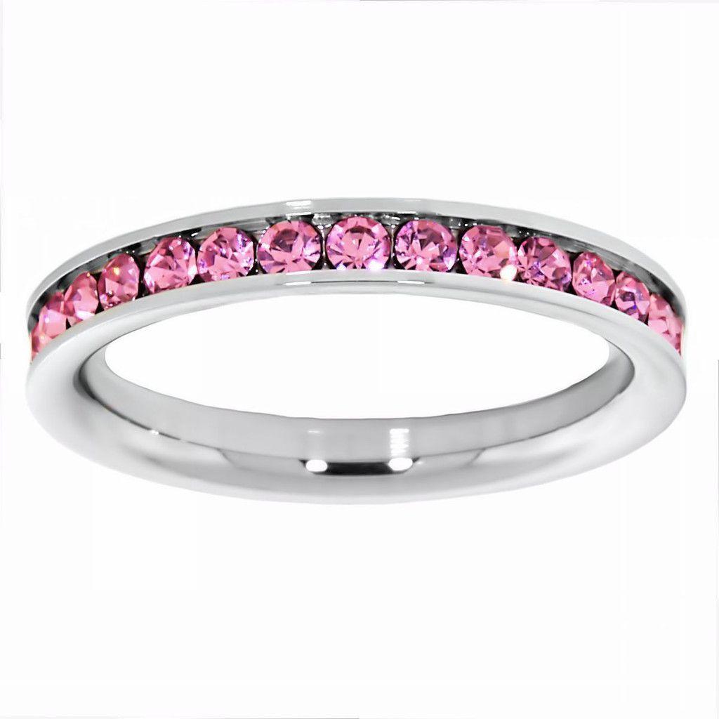 Rosette: 0.78ct Tourmaline Ice CZ 316 Steel 3mm Eternity Band Ring - Trustmark Jewelers