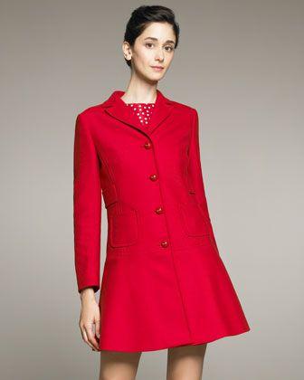 RED Valentino Belted-Back Coat Dress