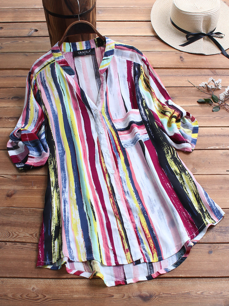 Damen Langarm V-Ausschnitt Tops Bluse Pocket Floral Print Plus Lose Ethnic Shirt