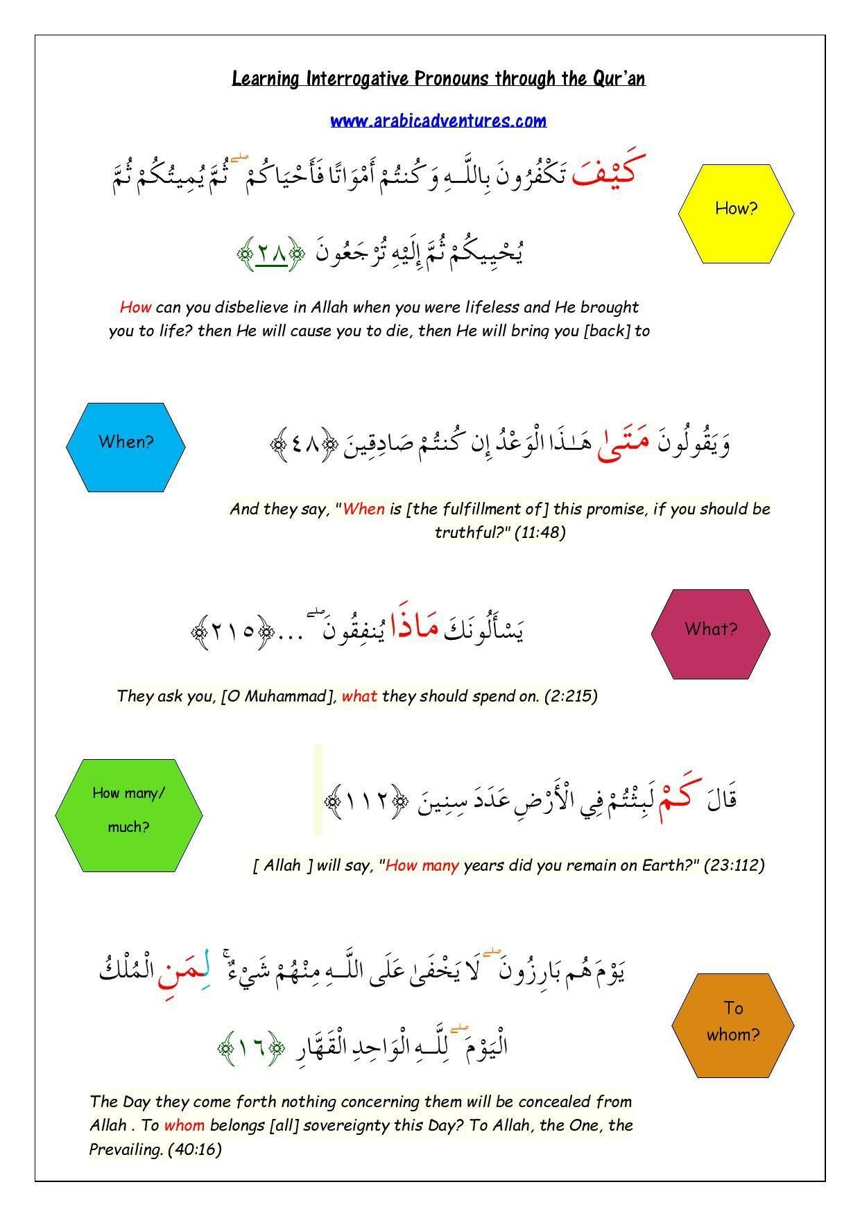 Question Words In Arabic Through The Quran Click The Pin For Free Download Learn Arabic Online Learning Arabic Interrogative Pronouns [ 1754 x 1240 Pixel ]