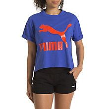 Archive Women's Story T-Shirt:In this highly sporty T-Shirt from the PUMA Archive you will certainly draw some envious looks.Oversized semi rubber print.Slightly cropped silhouette.Roll-up sleeves.Relaxed fit.Organic cotton and polyester.