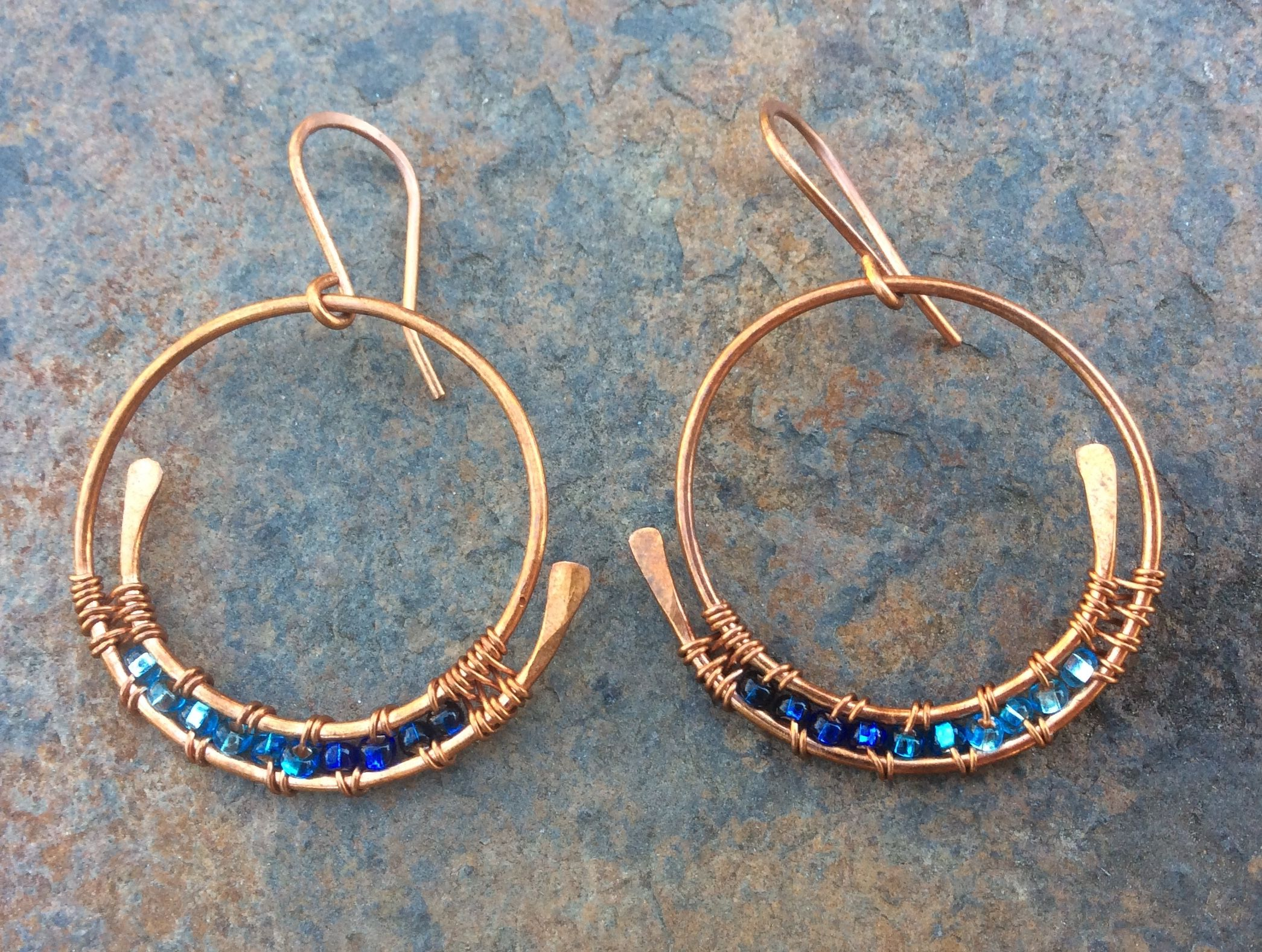 Copper Hoops Blue Beads Jewelry Making Wire