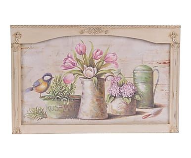 Lienzo sobre madera Flowers - 65x42 cm