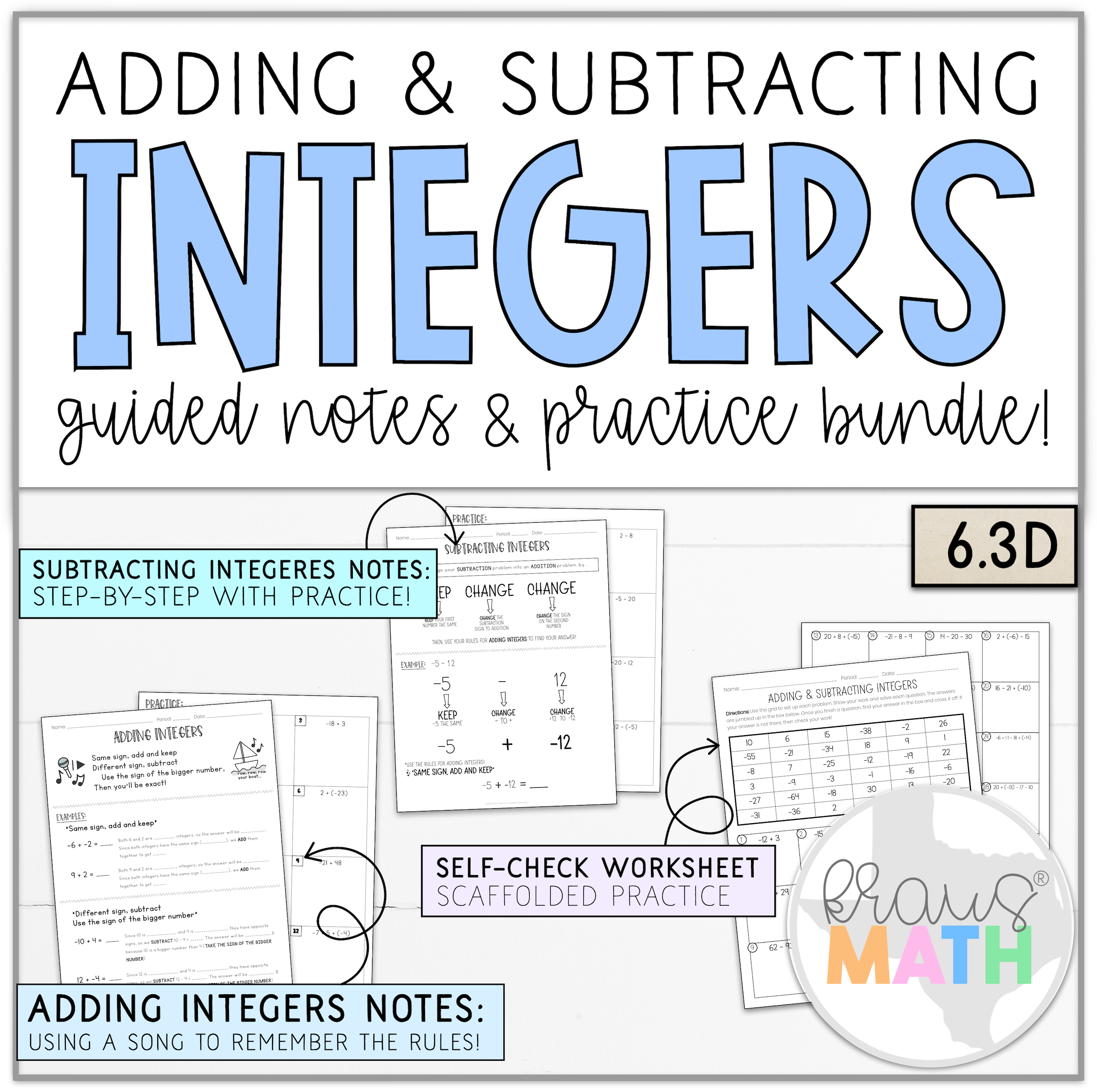 Add Amp Subtract Integers Notes Amp Worksheet Bundle 6 3d