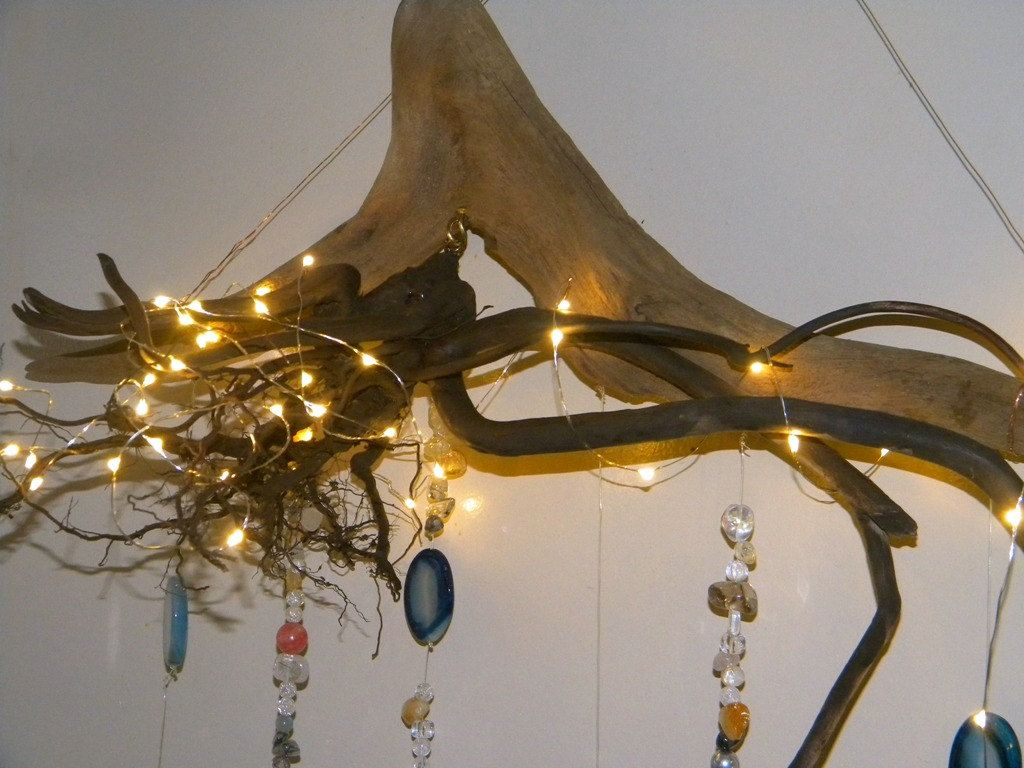 Driftwood tree root wall chandelier with crystals agate citrine driftwood tree root wall chandelier with crystals agate citrine quartz battery operated aloadofball Choice Image
