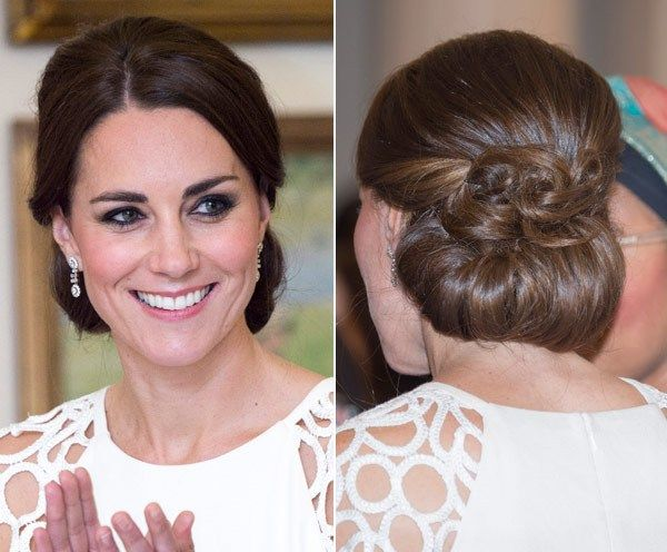 Kate Middleton S Elegant Updo For Last Night Of Royal Tour Coiffure Mariee Idees De Coiffures Coiffure
