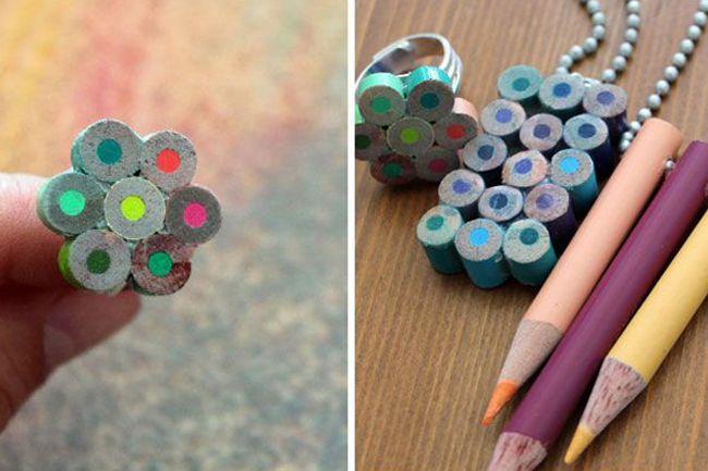 27f7b37a129a Collar y anillo hecho con lapices de colores | Карандашики | Lapices ...