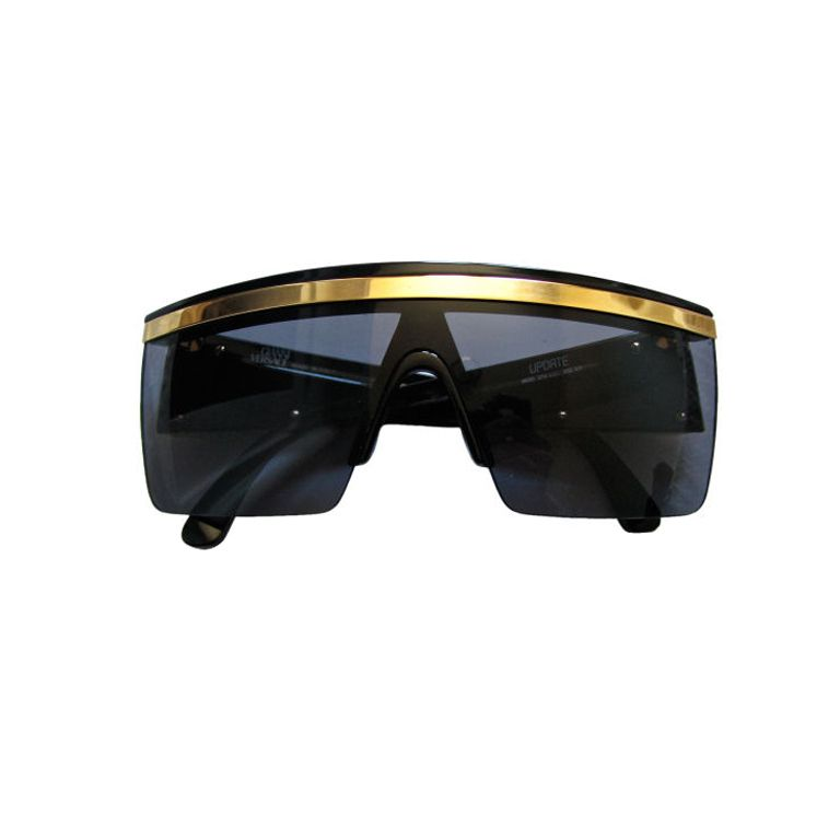 ef651ceced GIANNI VERSACE black shield sunglasses with gold trim