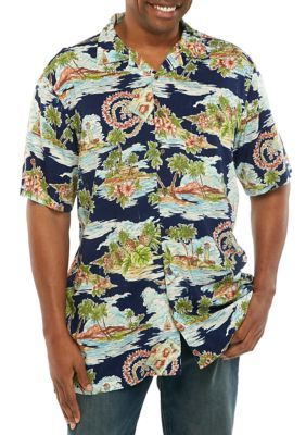 Saddlebred Men's Big & Tall Short Sleeve Beach Pattern Camp Shirt - Navy -