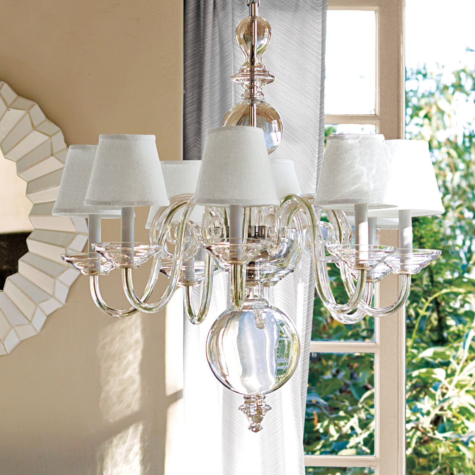 Anya Blown Glass Chandelier White Shades Serena Lily