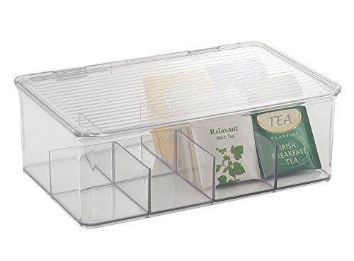 mDesign Tea Bag Single Serve Pouch Divided Box Holder Organizer, Clear