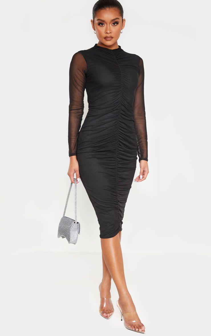 Black mesh ruched strappy midi dress strappy midi dress