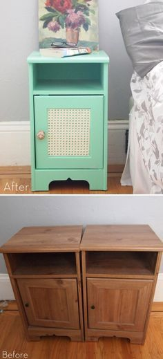 Mint nightstand makeover #DIY instructions here http://www.crafthabit.com/2012/06/13/urban-outfitters-gigi-nightstands/