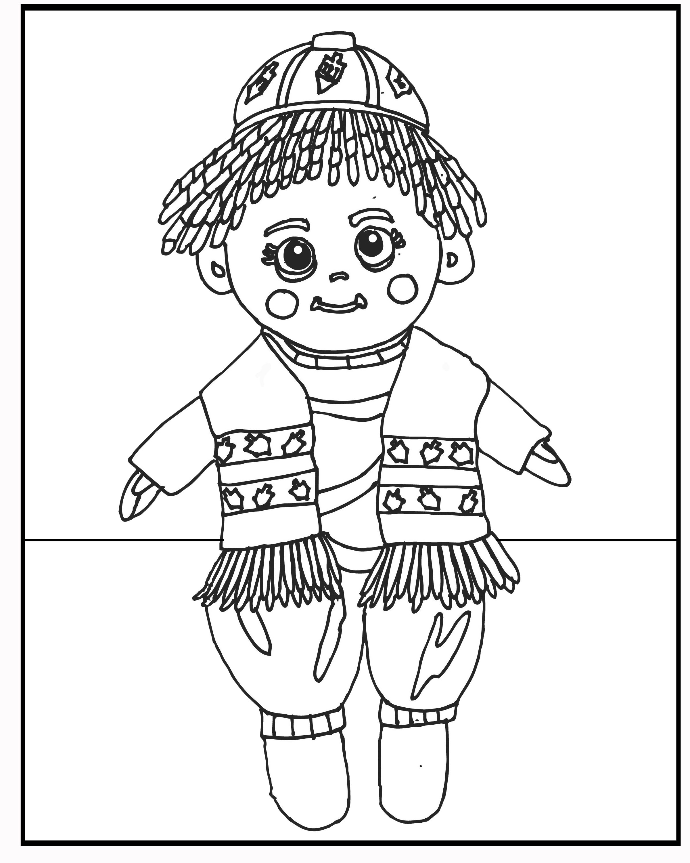 coloring sheet | Kippah Kantor- Jewish Elf on the Shelf | Pinterest