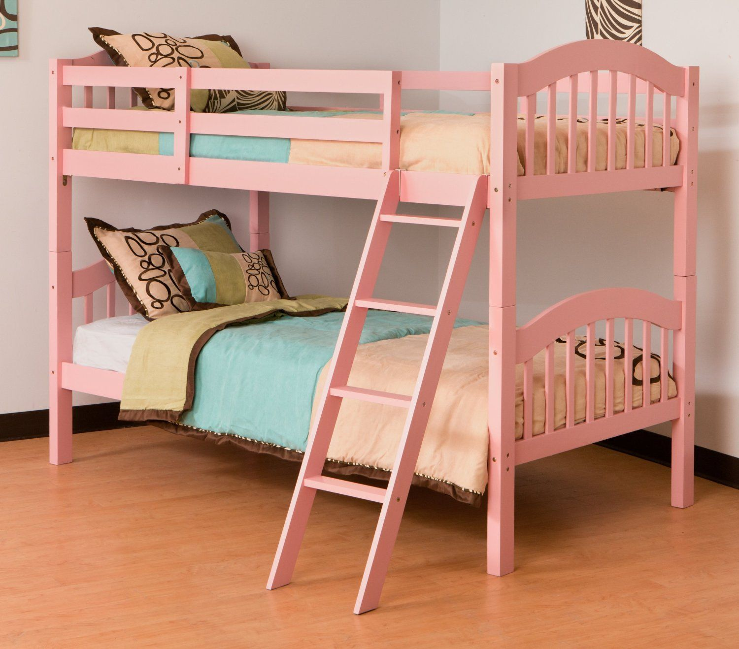 Stork craft long horn pink bunk bed girls converts into two twin