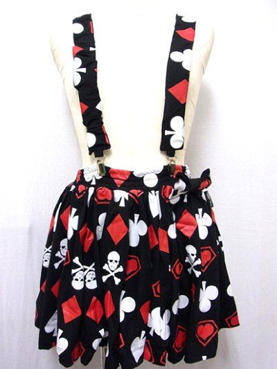 Playing Card Gathered Skirt w/Suspender. Avalilavle at: http://www.cdjapan.co.jp/apparel/new_arrival.html?brand=SLV