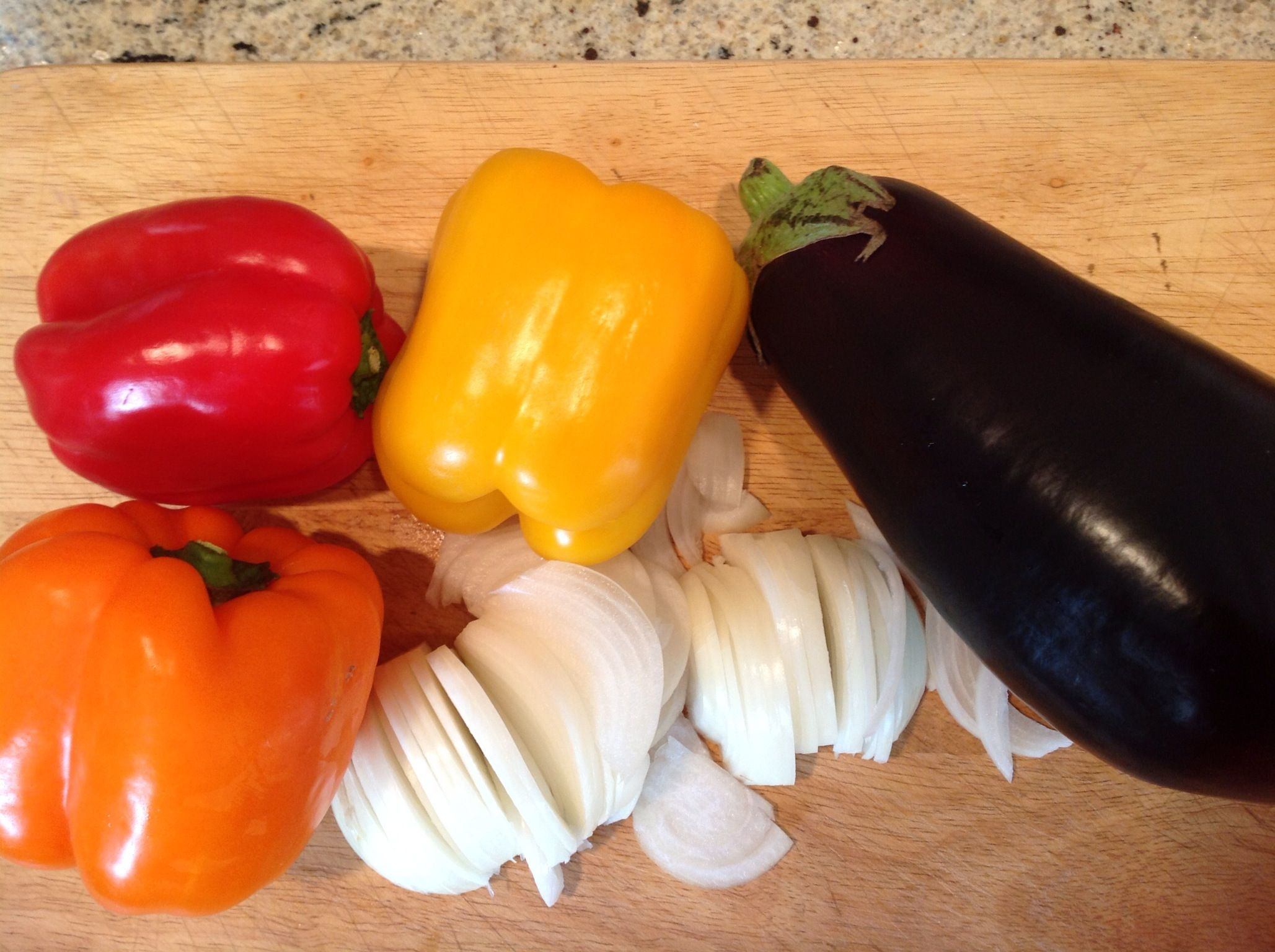 Peppers, eggplant & onions for a crockpot meal