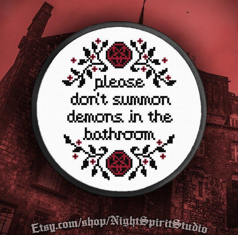 Photo of Please Don't Summon Demons in the Bathroom Cross Stitch Pattern PDF Halloween