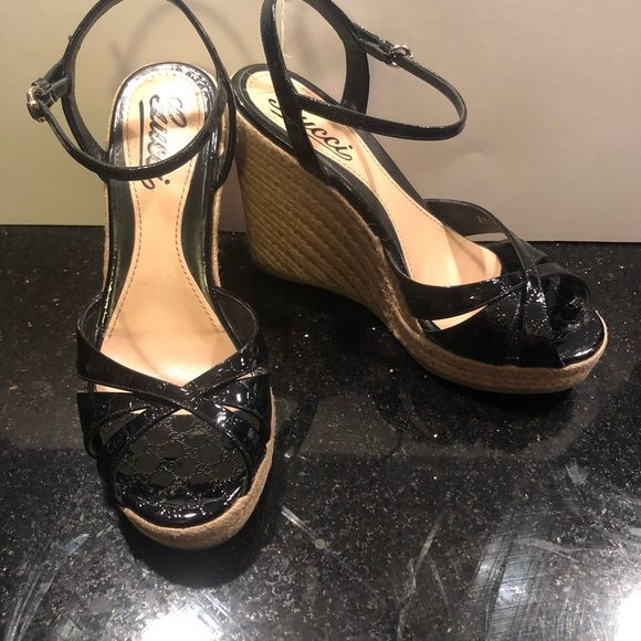 32e08dfed38ab Gucci Black Patent Leather Wedge Platform Gucci black patent leather wedge  platform 4.5 inch heel. Gently used Gucci Shoes Wedges