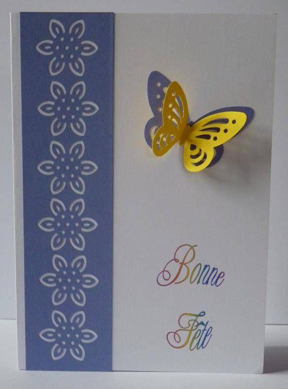 carte bonne fête papillon 3d jaune/violet - carte postale et autre - creer une maison en 3d