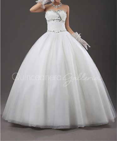 White Pearl Beaded Quinceanera Dress