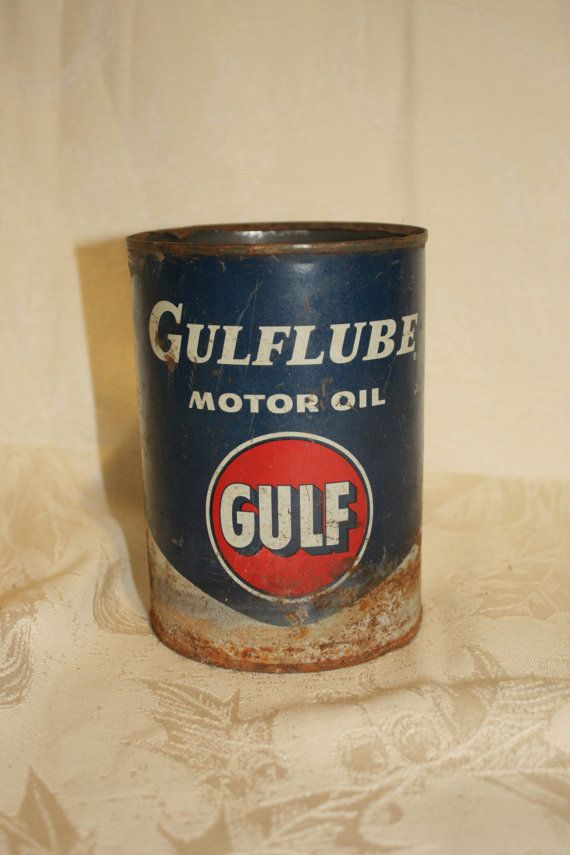Vintage Gulflube Motor Oil Quart Can by VaceksBarn on Etsy