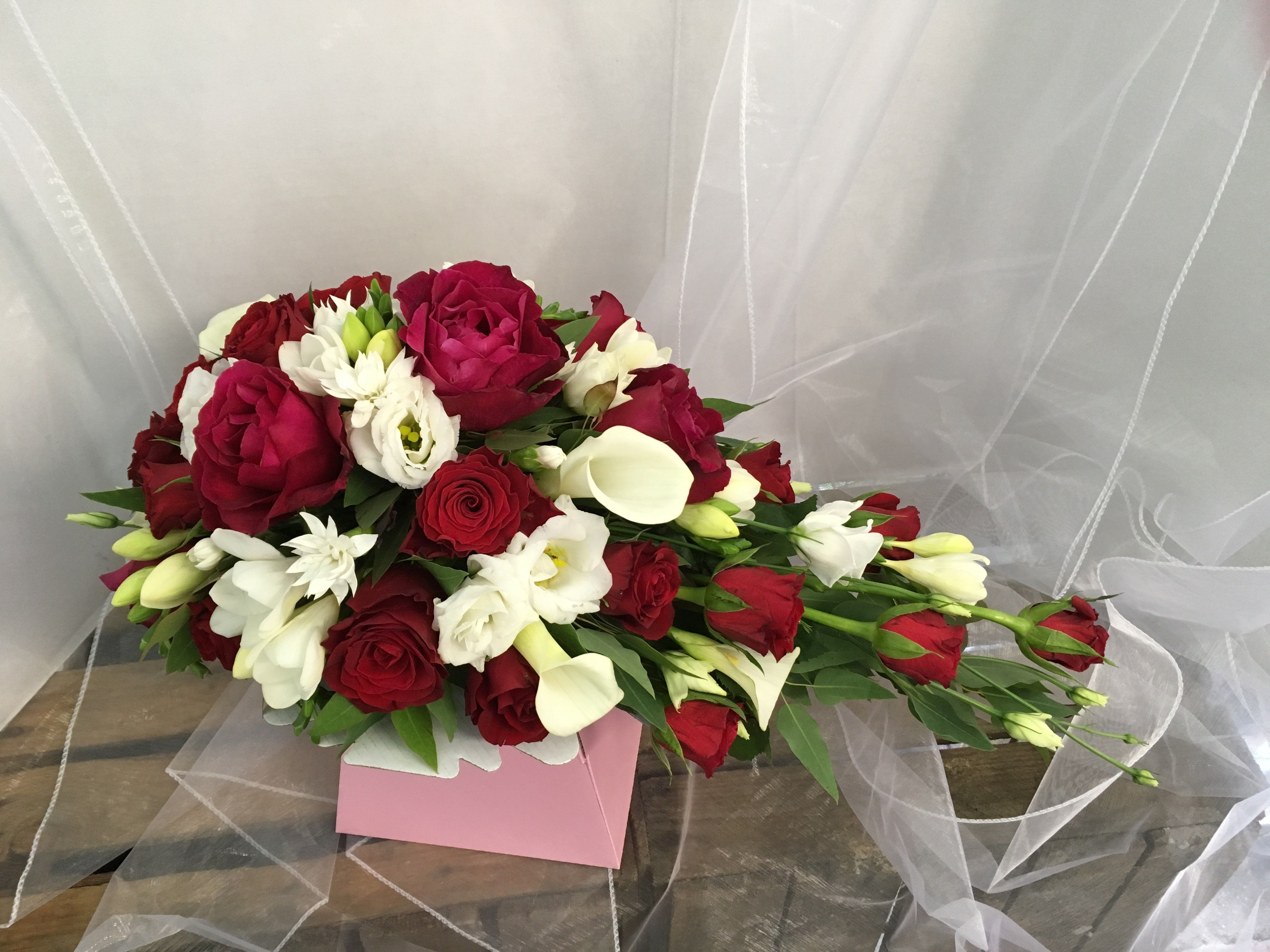 Gorgeous Red Rose And White Seasonal Flowers Brides Bridal Teardrop