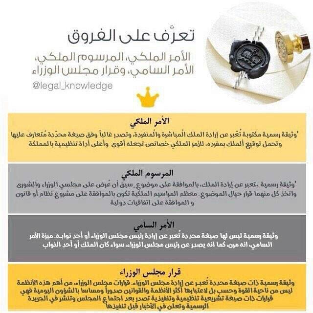 What S Different الفرق بين الأمر الملكي والمرسوم الملكي والأمر السامي وقرار مجلس الوزراء وهو خاص بالمملكة العربية السعودية Knowledge Lol Shopping