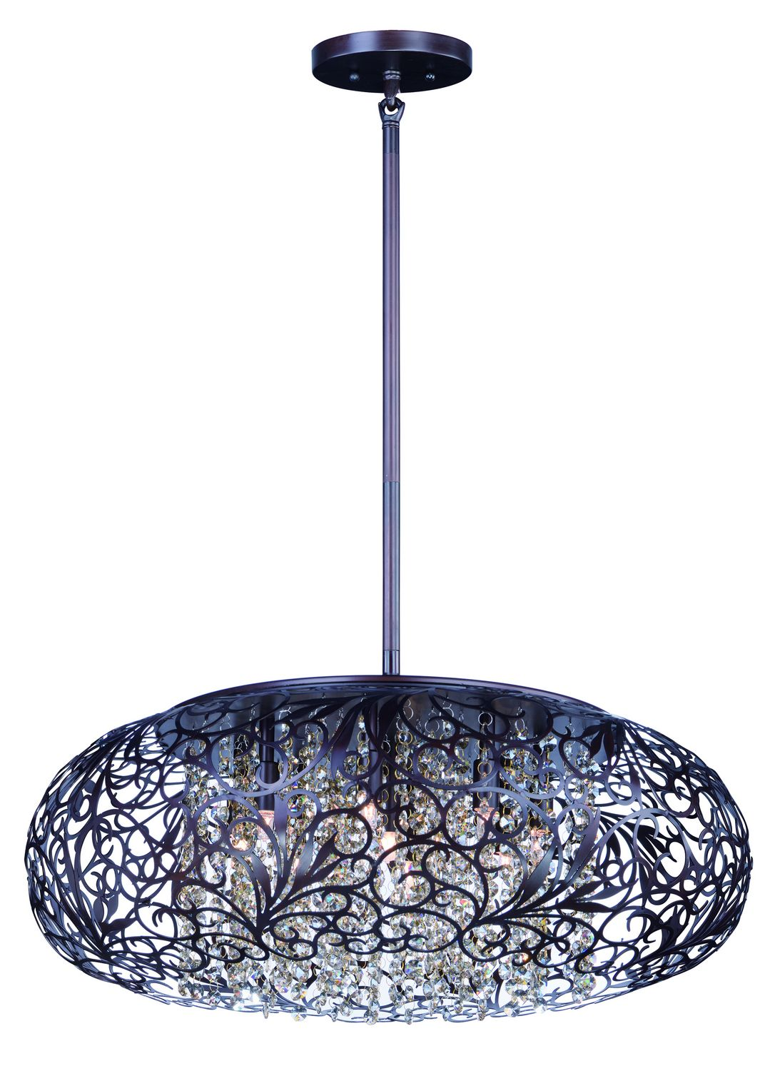 Nice Seven Light Pendant The Arabesque Collection`s Intricate Patterns Are  Formed In Metal And Finished In Golden Silver. Strands Of Crystal Beads Add  Sparkle As ...