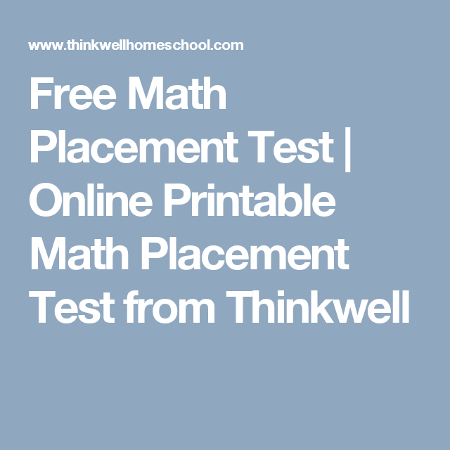 Free Math Placement Test | Online Printable Math Placement Test from