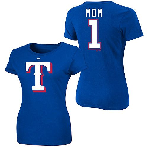 Texas rangers women 39 s 1 mom name and number t shirt by for Texas baseball t shirt