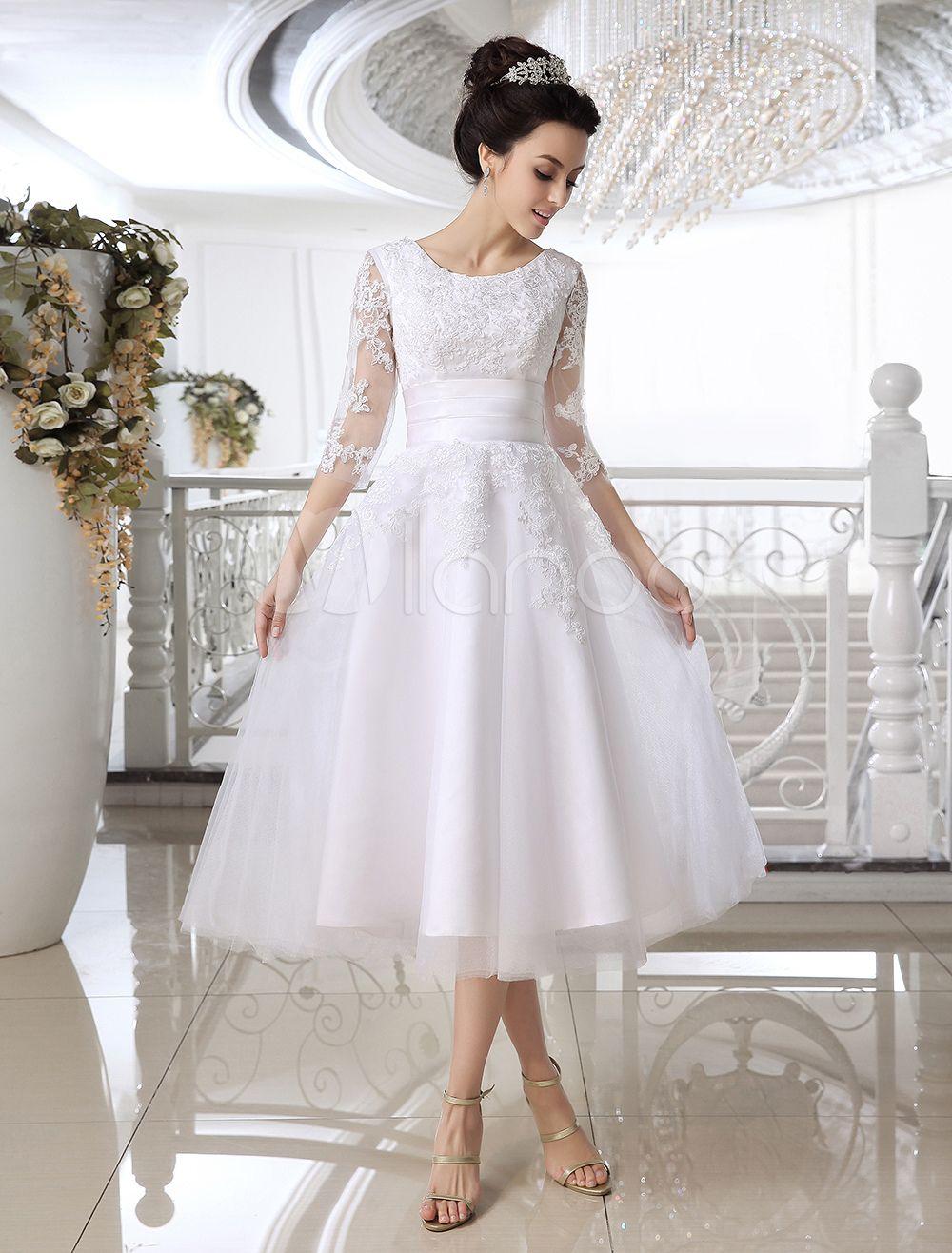 T-length lace wedding dresses november 2018 White wedding dresses  short lace Applique illusion half sleeve