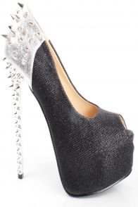 Love this spike black & silver heel.  For purchase contact cocostarfashions@gmail.com