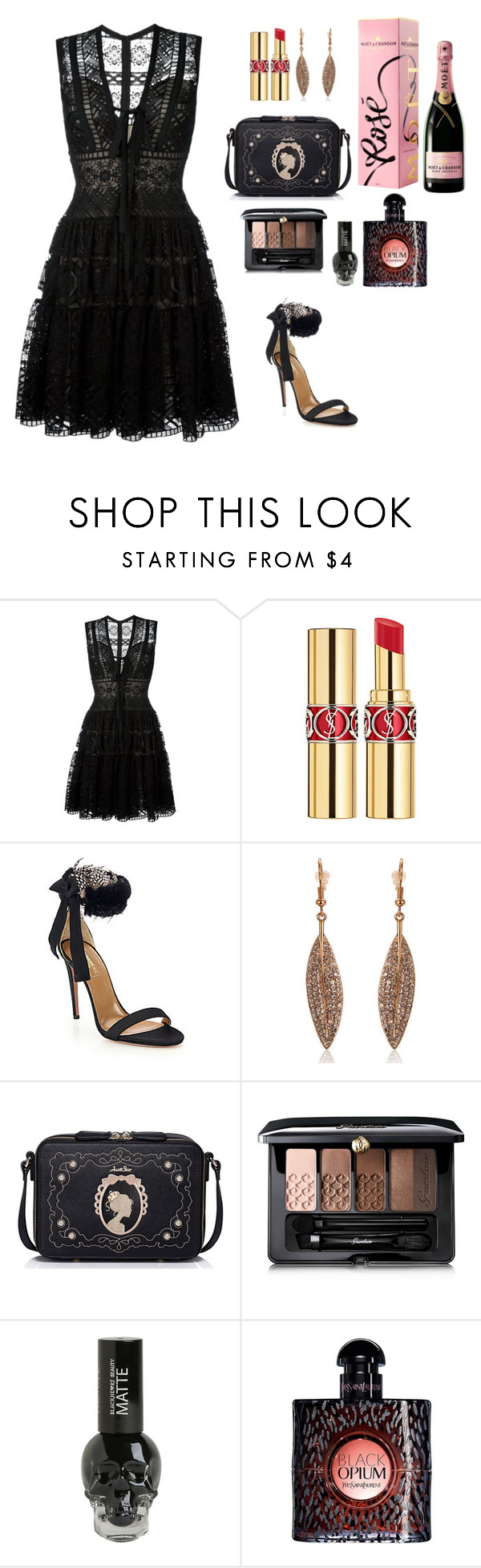 """""""Party all night"""" by lynguyen-i ❤ liked on Polyvore featuring beauty, Elie Saab, Yves Saint Laurent, Aquazzura, WithChic and Guerlain"""