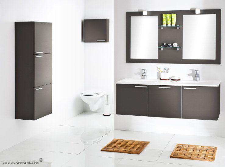 Une double vasque blanc mat et un meuble sous vasque de finition design gris - Meuble salle de bain design contemporain ...