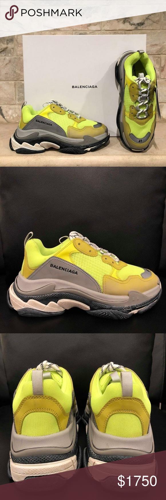Balenciaga Triple S Sneaker Womens Neon Yellow Balenciaga