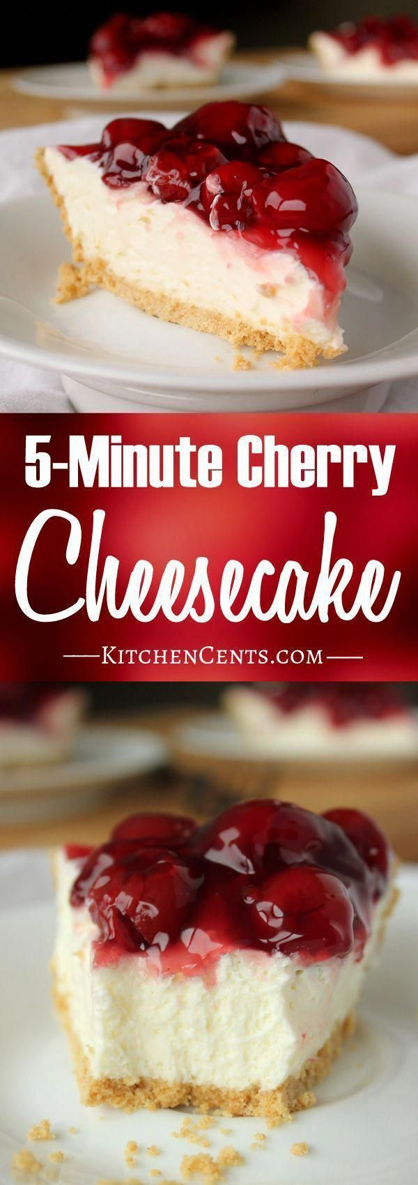 Easy 5-Minute Cherry Cheesecake  This 5-Minute No-Bake Cheesecake has a graham cracker crust filled with rich, cheesecake filling topped with sweet pie cherries. Make it in 5 minutes! #cheesecakedessertseasy
