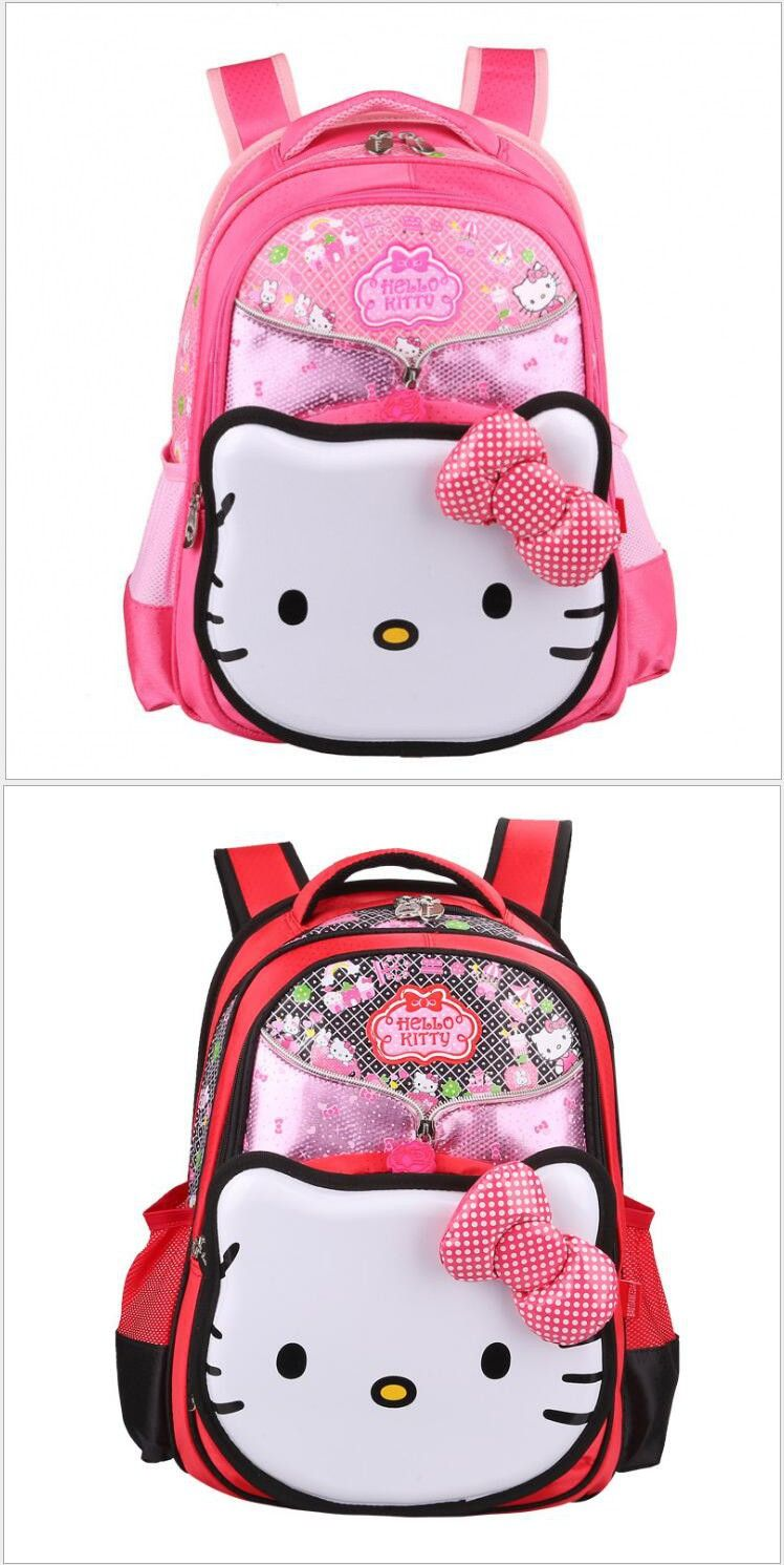 Hello Kitty Children School Bags For Girls Kids Schoolbag Cartoon Kids  School Backpacks PInk Double Shoulder 73f474f8d4